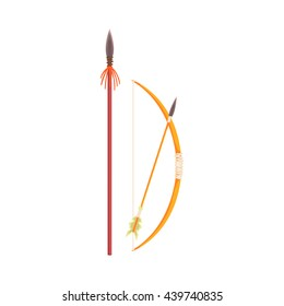 African Spear, Bow And Arrow Realistic Simplified Drawing