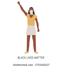 African sporty protester, hand fist raised up into air. Black woman tomboy non-binary protesting, fighting for human rights rebel manifestation. Black lives matter caption. Flat vector illustration.