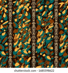 African style vector seamless pattern. Abstract turquoise, orange and brown spots and gold ornate chains on black background for design, textile, wallpaper, wrapping, carton, print, ceramic tile.