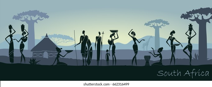 African sunset landscape with silhouettes of people
