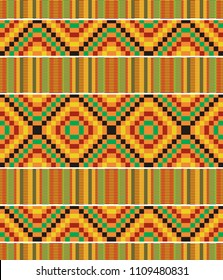 African textile fabric, cloth kente. Ethnic seamless pattern.