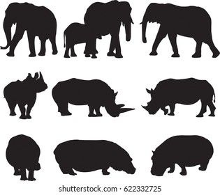 African three types shape of largest animal,african elephant, white rhinoceros and hippo silhouette contour