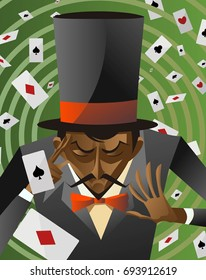 african top hat magician poker cards magic trick