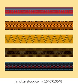 African traditional ornament. Borders with geometric ornament. Ancient traditions. Vector.