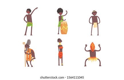 African Tribal Characters Vector Set. Man Beating the Drum and Dancing Voodoo Dance