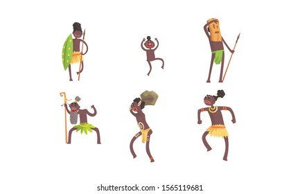 African Tribal Characters Vector Set. Man Wearing Mask and Dancing Voodoo Dance