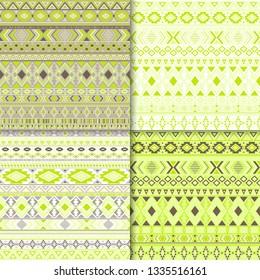 African tribal ethnic motifs geometric patterns set. Unusual tribal motifs clothing fabric textile ethno prints traditional design. Native american folk fashion prints.