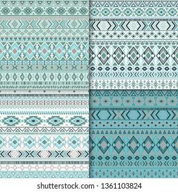 African tribal ethnic motifs geometric patterns set. Geometric tribal motifs clothing fabric textile ethno prints traditional design. Native american folk fashion prints.