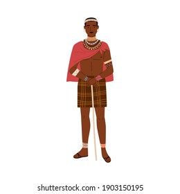 African tribal man holding stick in hands. Young male member of aboriginal tribe standing in traditional ethnic clothes with accessories. Colored flat vector illustration isolated on white background