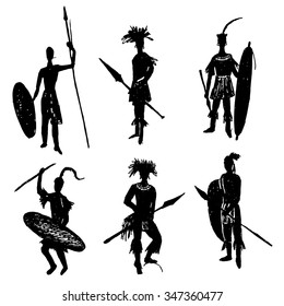 African tribal warriors in the battle suit and arms drawing sketch hand drawn vector illustration