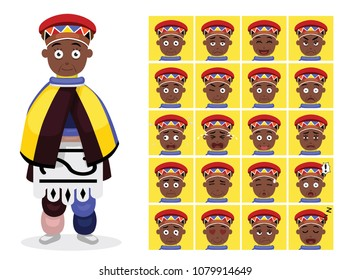 African Tribe Clothes Female Ndebele Cartoon Emotion faces Vector Illustration