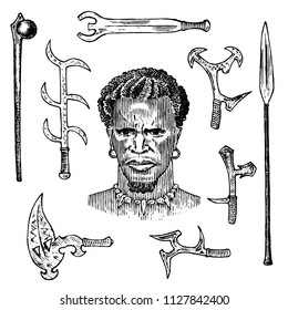 African tribe with spears and weapons, portrait of Aborigine in traditional costume. Australian Warlike black native man. Engraved hand drawn old monochrome Vintage sketch for label.