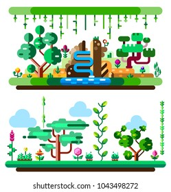 African tropical jungle and landscape made with bright colors. Cartoon forest. Flat vector illustration set. Elements for your mobile game