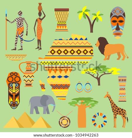 African Vector Symbols Travel Safari Icon Stock Vector Royalty Free