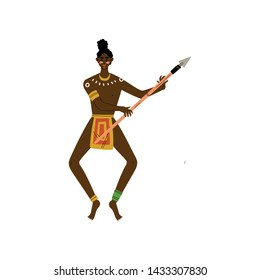 African Warrior Dancing with Spear, Male Aboriginal Dressed in Bright Traditional Ethnic Clothing Vector Illustration