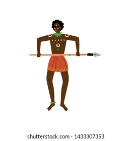 African Warrior Man with Spear, Male Aboriginal Dressed in Bright Traditional Ethnic Clothing Vector Illustration