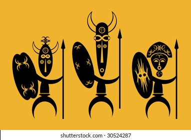 African Warriors with Shields and Spears