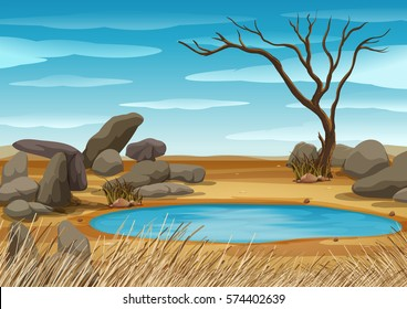 African water hole scene