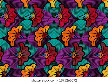African Wax Print fabric, Ethnic overlap ornament seamless design, kitenge pattern motifs floral elements. Vector texture, afro colorful textile Ankara fashion style. Pareo wrap dress wedding flowers