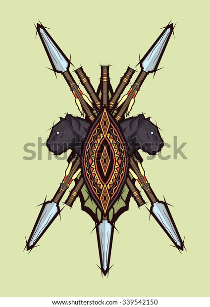 African Weapons Stock Vector (Royalty Free) 339542150