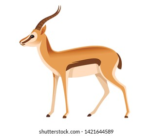 African wild black-tailed gazelle with long horns cartoon animal design flat vector illustration on white background side view antelope