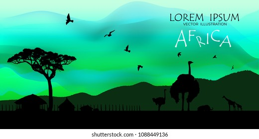 African Wildlife Background. Nature Background. African savanna landscape. safari card. vector.