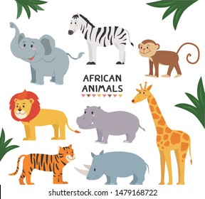African Wildlife collection isolated on white background