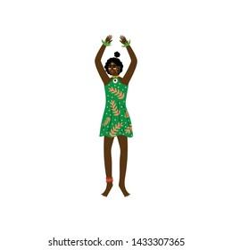 African Woman, Aboriginal Girl Dressed in Modern Green Dress Vector Illustration