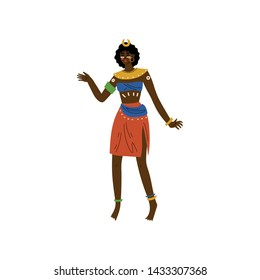 African Woman, Aboriginal Girl Dressed in Bright Traditional Ethnic Tribal Clothing Vector Illustration