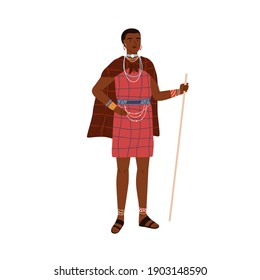 African woman of aboriginal tribe holding stick and wearing traditional ethnic dress and tribal accessories like necklaces and bracelets. Colored flat vector illustration isolated on white background
