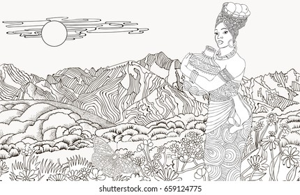Page Coloring Japanese Girl Background Mountain Stock Vector