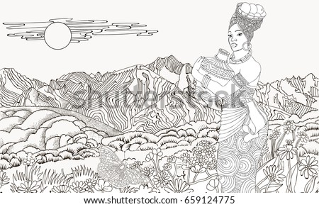 African Woman Background Mountain Landscape Coloring Stock Vector