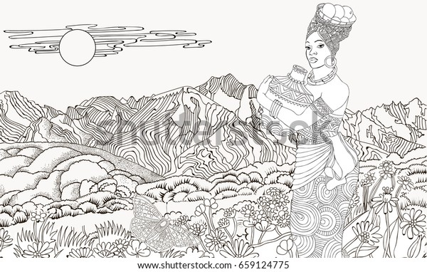 African Woman Background Mountain Landscape Coloring Stock ...