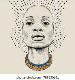 African woman with African in beads, tribal background. Beautiful black woman.  Vector illustration