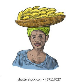 African woman carries a basket with bunch banana on her head. Vector color vintage engraving illustration isolated on white background. For menu, web, label