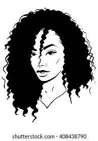 African woman with curly hair