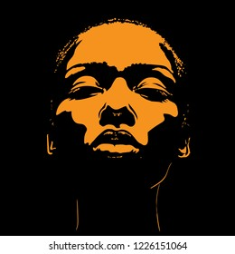 African Woman face in contrast light. Vector. Illustration.