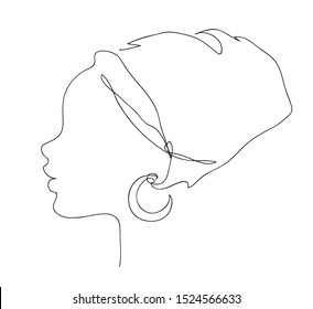 African woman face silhouette in national headdress icon. Logo outline illustration of pretty girl. Black and white hand drawn line art style
