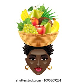 African woman with fruits on her head isolated photo-realistic vector