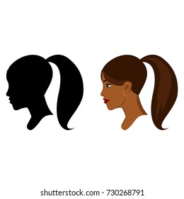 African woman head in profile. Portrait of african girl in color and black silhouette. Women's profile outline, isolated on white. Vector character for logos. EPS8