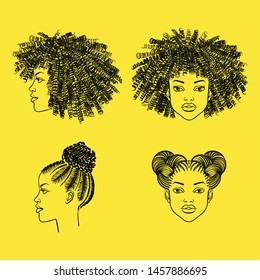 African woman heads in face and profile, black girl portraits with afro hairstyle. Curly, braided hairs, braids, ringlets, space buns. Beauty shop, barbershop salon hand drawn ink fashion illustration