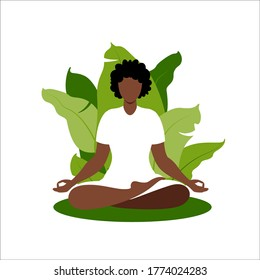 African woman meditating on nature background. Meditation concept. Woman sitting in lotus position practicing meditation. Vector illustration in flat style.