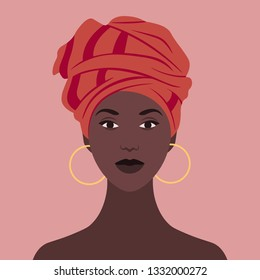 African woman in national headdress. Portrait. Avatar for a social network. Vector flat illustration