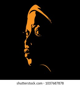 African woman portrait silhouette in backlight Vector. Illustration