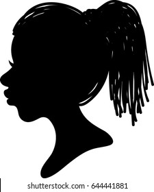 African Woman Profile Silhouette- Dread locks Hair - Vector Illustration