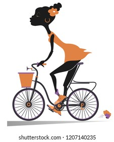 African woman rides a bike isolated illustration. African woman rides a bike and looks healthy and happy isolated on white illustration