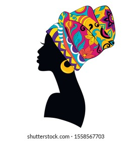 African Woman silhouette with bright multicoloured Turban isolated on white background