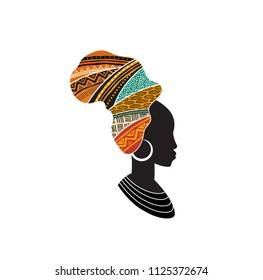 African woman silhouette with an African map as a head wrap. Concept design and illustration