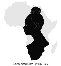 African woman (silhouette) - Symbolic illustration depicting a typical African woman