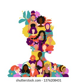 African woman silhouette womens figures of various nationalities and tropical flowers.Flat trendy style.Vector illustration character icon. Isolated of white background.Feminism, empowerment concept